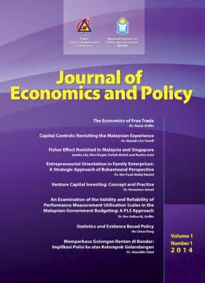 Journal of Economics and Policy Vol 1, No. 1-2014 by Institut Tadbiran Awam Negara (INTAN) from INSTITUT TADBIRAN AWAM NEGARA in General Academics category